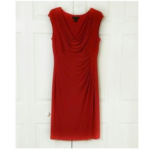 Ralph Lauren red midi career formal dress sz 12